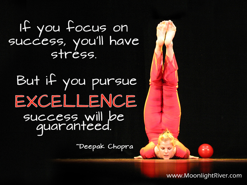 """If you focus on success, you'll have stress. But if you pursue excellence, success will be guaranteed."" Deepak Chopra"